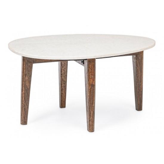 Bizzotto Μαρμάρινο Τραπέζι Σαλονιού Sylvester Οβάλ 0746680 Λευκό 70x50x36cm