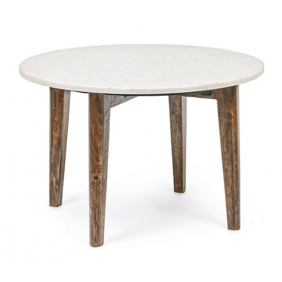 Bizzotto Μαρμάρινο Τραπέζι Σαλονιού Sylvester Στρογγυλό 0746681 Λευκό D60x40cm