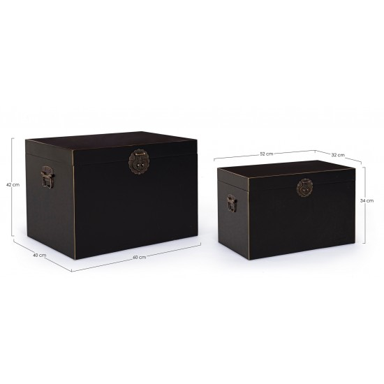 Bizzotto Σετ/2 Ξύλινα Μπαούλα Pechino 0746031 Μαύρο 60x40x42cm/52x32x34cm