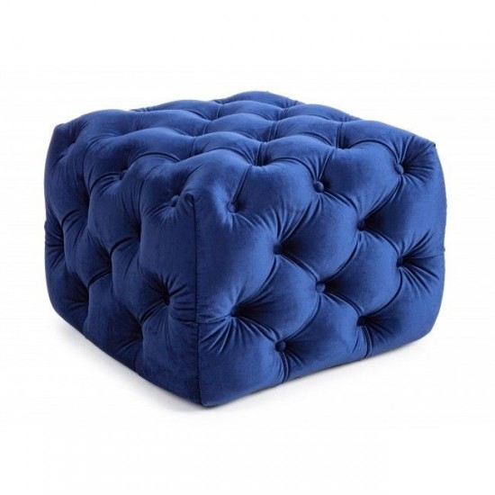 Bizzotto Evan Βελούδινο Πουφ 62x62x46εκ., Μπλε
