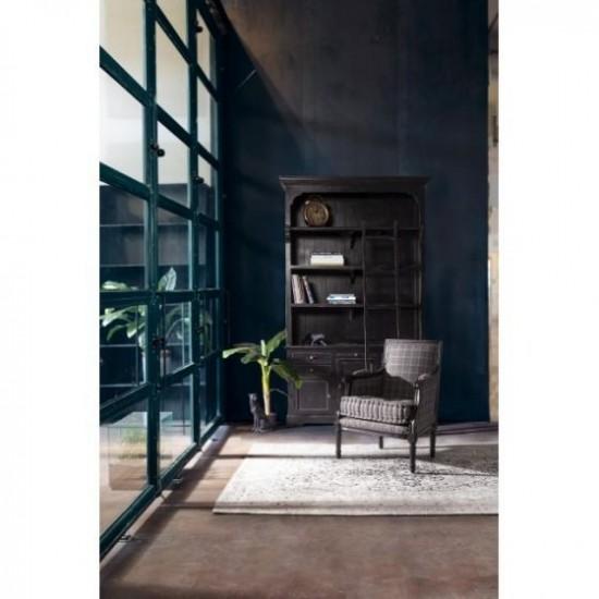 Bizzotto Jefferson Πολυθρόνα Ξύλινη Mango Αντικέ 66x56x86εκ., Μαύρη-Γκρι