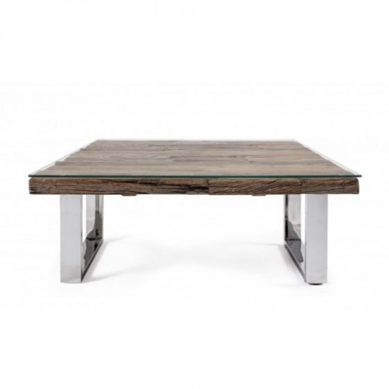 Bizzotto Stanton Τραπέζι Σαλονιού 100x100x40εκ., Καρυδί-Χρώμιο
