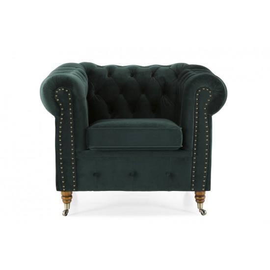 Chesterfield Πολυθρόνα Βελούδο Σκούρο Πράσινο CHES102 94x86x80cm