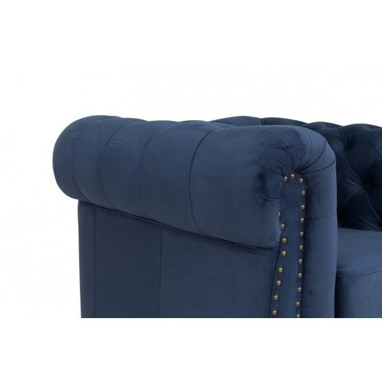 Chesterfield Πολυθρόνα Βελούδο Μπλε CHES103 94x86x80cm