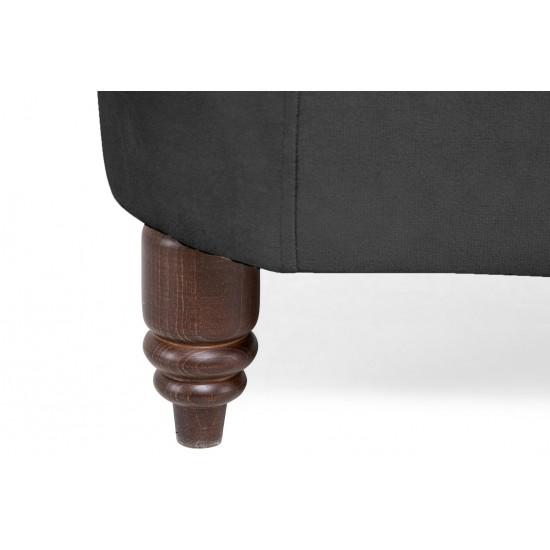 Chesterfield Πολυθρόνα Βελούδο Γκρι CHES105 94x86x80cm