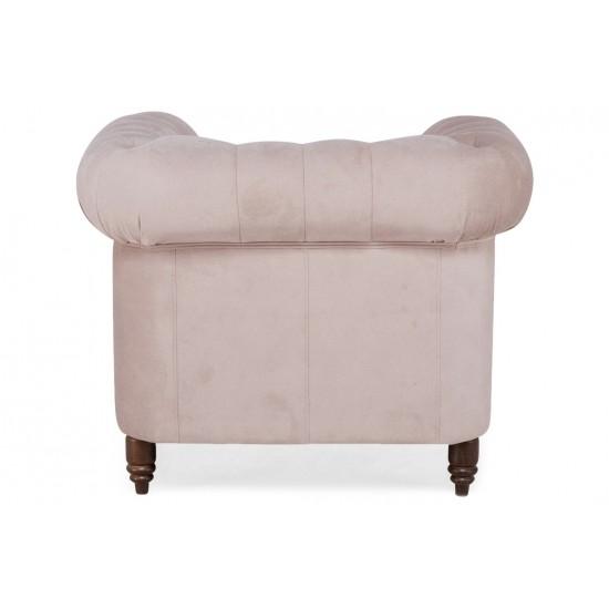 Chesterfield Πολυθρόνα Βελούδο Ροζ Γιασεμί CHES106 94x86x80cm
