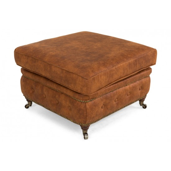 Chesterfield Σκαμπό Σαλονιού Τετράγωνο Δέρμα Καφέ Κονιάκ CHES120 75x70x45cm