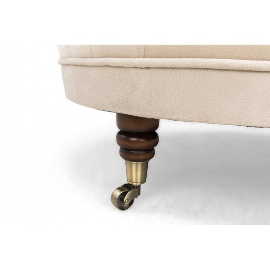 Chesterfield Σκαμπό Σαλονιού Στρογγυλό Βελούδο Μπεζ CHES122 80x80x32cm