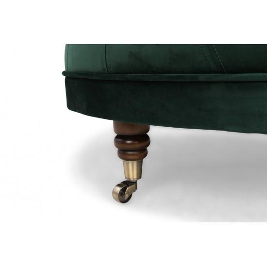 Chesterfield Σκαμπό Σαλονιού Στρογγυλό Βελούδο Σκούρο Πράσινο CHES124 80x80x32cm