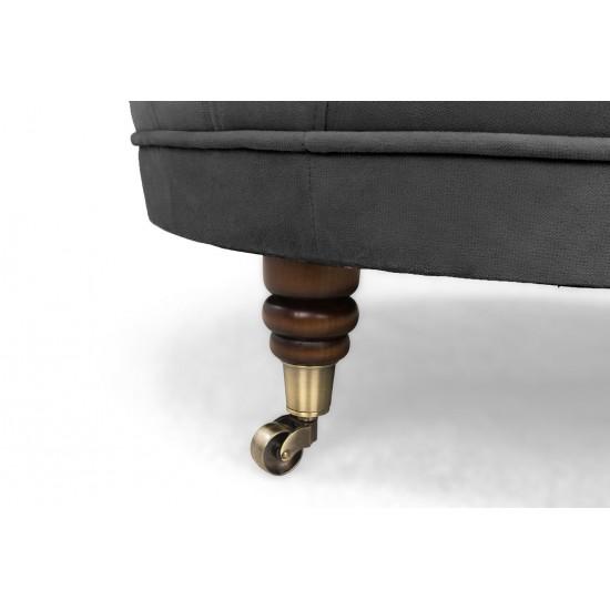 Chesterfield Σκαμπό Σαλονιού Στρογγυλό Βελούδο Γκρι CHES127 80x80x32cm
