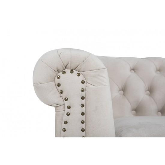 Chesterfiled Καναπές 2θέσιος Βελούδο Μπεζ CHES013 150x86x80cm