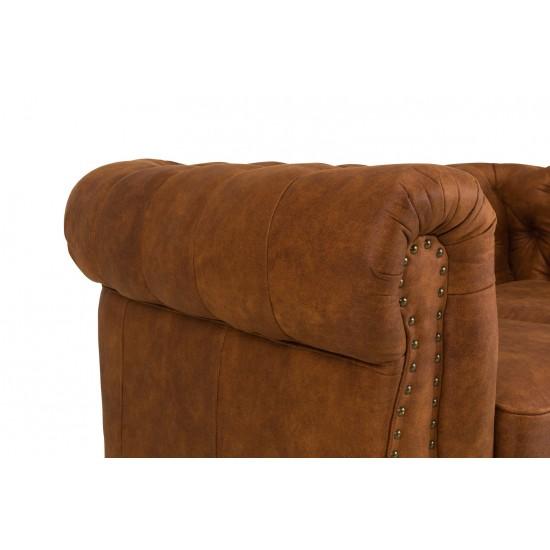 Chesterfiled Καναπές 2θέσιος Δέρμα Καφέ-Κονιάκ CHES021 150x86x80cm