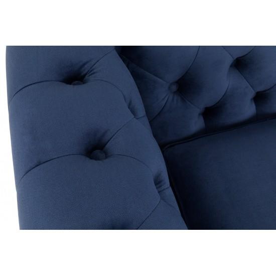 Chesterfiled Καναπές 2θέσιος Βελούδο Μπλε CHES015 150x86x80cm