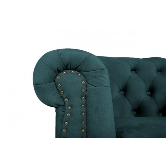 Chesterfiled Καναπές 2θέσιος Βελούδο Πετρόλ CHES016 150x86x80cm