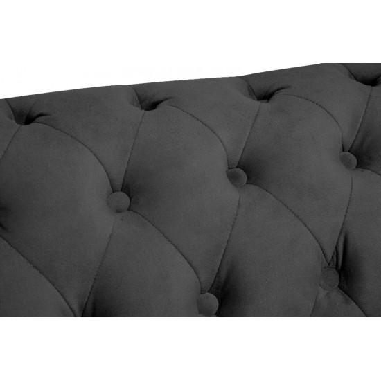 Chesterfiled Καναπές 2θέσιος Βελούδο Γκρι CHES017 150x86x80cm