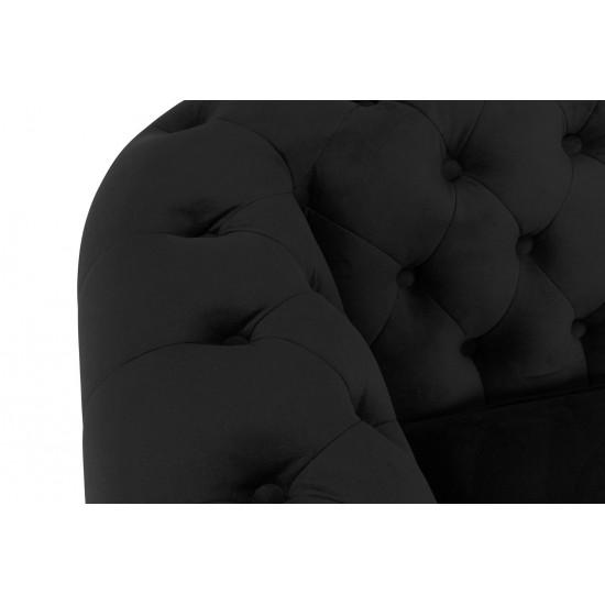 Chesterfiled Καναπές 3θέσιος Βελούδο Μαύρο CHES003 203x86x80cm
