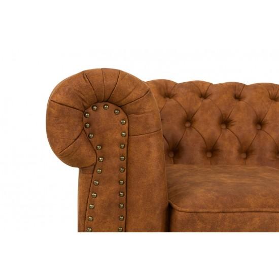 Chesterfiled Καναπές 3θέσιος Δέρμα Καφέ-Κονιάκ CHES010 203x86x80cm