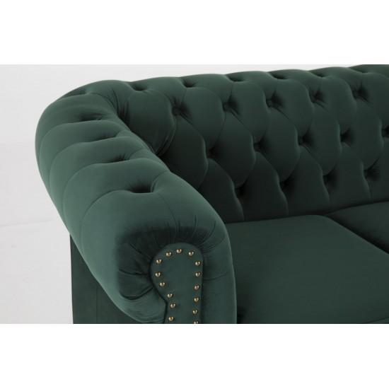 Chesterfiled Καναπές 3θέσιος Βελούδο Σκούρο Πράσινο CHES004 203x86x80cm