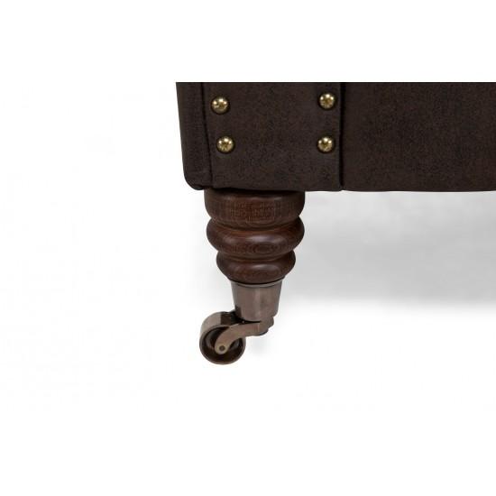 Chesterfiled Καναπές 3θέσιος Δέρμα Σκούρο Καφέ CHES011 203x86x80cm