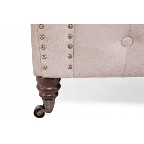 Chesterfiled Καναπές 3θέσιος Βελούδο Ροζ Γιασεμί CHES007 203x86x80cm