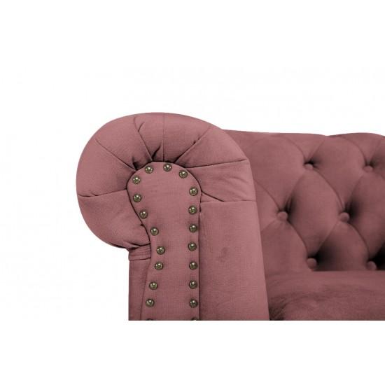 Chesterfield Πολυθρόνα Βελούδο Σάπιο Μήλο CHES107 94x86x80cm