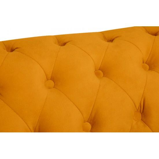 Chesterfiled Καναπές 2θέσιος Βελούδο Μουσταρδί CHES020 150x86x80cm
