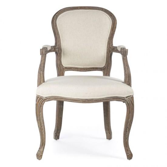 Artekko Πολυθρόνα ξύλινη  με εκρού ύφασμα 716-4009
