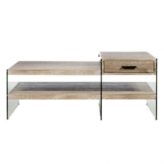 Artekko Τραπέζι σαλονιού/μέσης με 1 συρτάρι και γυάλινα πλαϊνα 709-3120