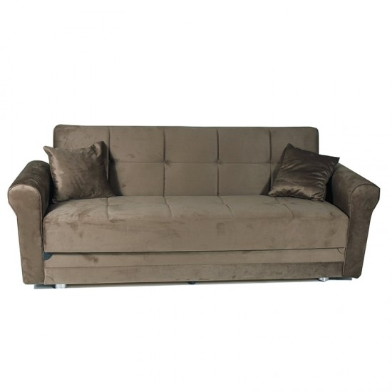 Artekko Καναπές-κρεβάτι τριθέσιος βελούδο FABELLO BROWN  HOLLAND 783-3047