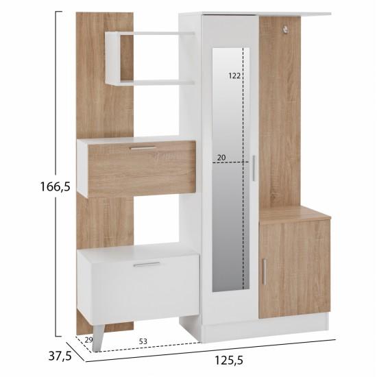 ΕΠΙΠΛΟ ΕΙΣΟΔΟΥ ΜΕ ΡΑΦΙΑ & ΚΑΘΡΕΠΤΗ ILIANA HM2265 ΛΕΥΚΟ-SONAMA 125,5x37,5x166,5 εκ.