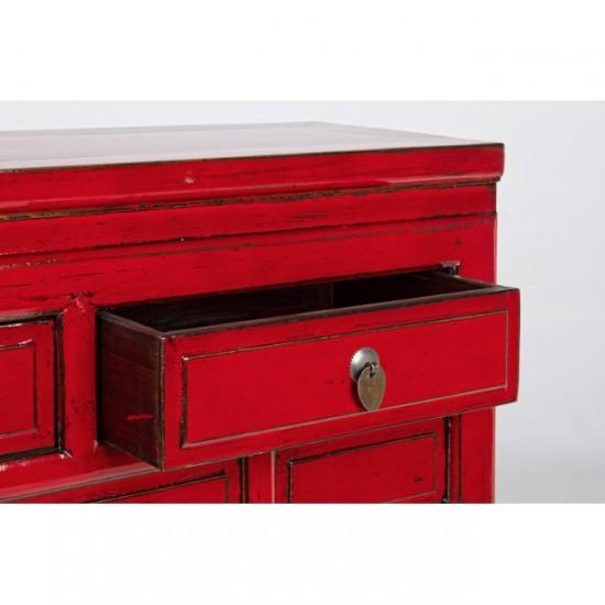 Jinan Κοκκινη κονσόλα με 3 συρτάρια 0745922 128x30x88