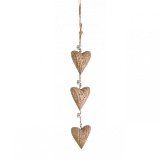 Bizzotto Γιρλάντα με ξύλινες καρδιές 0916615