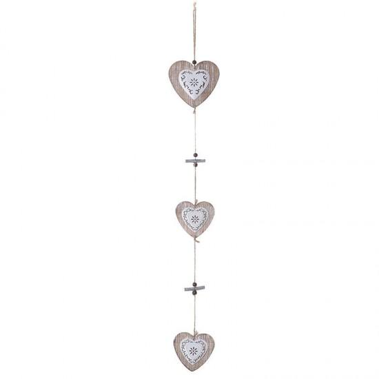 Inart Στολίδι ξύλινο καρδιά 2-70-244-0011