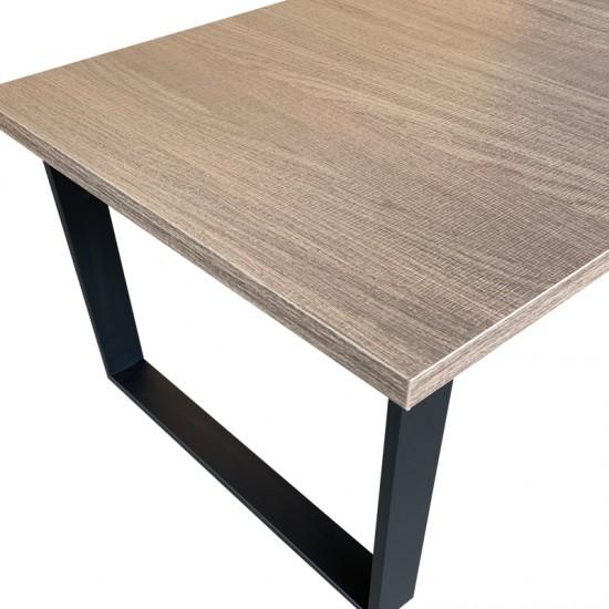 ULMER COFFEE TABLE 120x60x40Ycm GREY OAK ΕΠΙΦΑΝΕΙΑ/ΜΑΥΡΑ ΜΕΤΑΛΛΙΚΑ ΠΟΔΙΑ