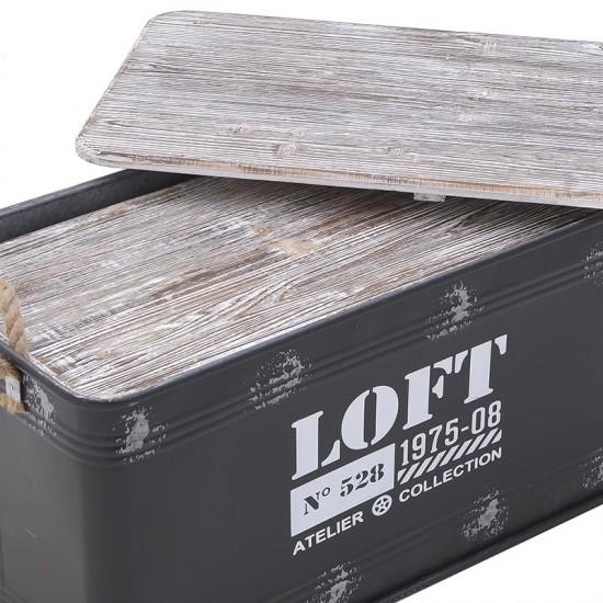 Inart Σκαμπό/Κουτί Σετ Των 3 0x0x0cm 3-50-493-0014