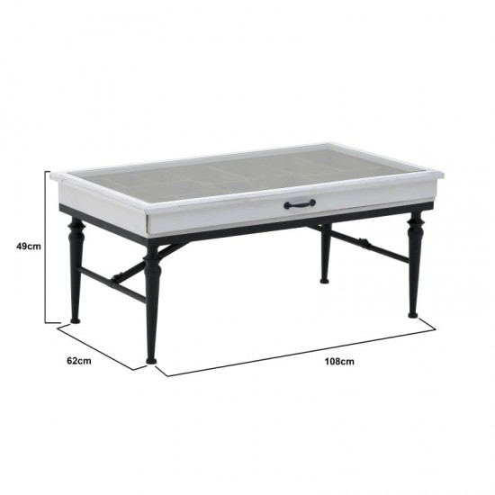 Inart Τραπέζι Σαλονιού/Βιτρίνα 108x62x49cm 3-50-090-0307
