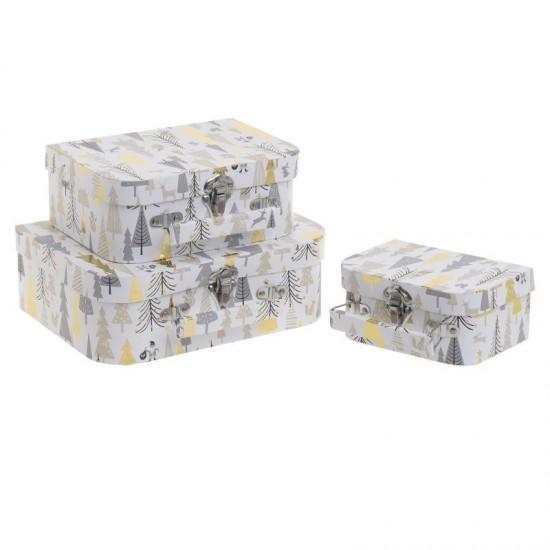 Inart Κουτί/Βαλίτσα Σετ Των 3 25x18x8.5cm 2-70-144-0110