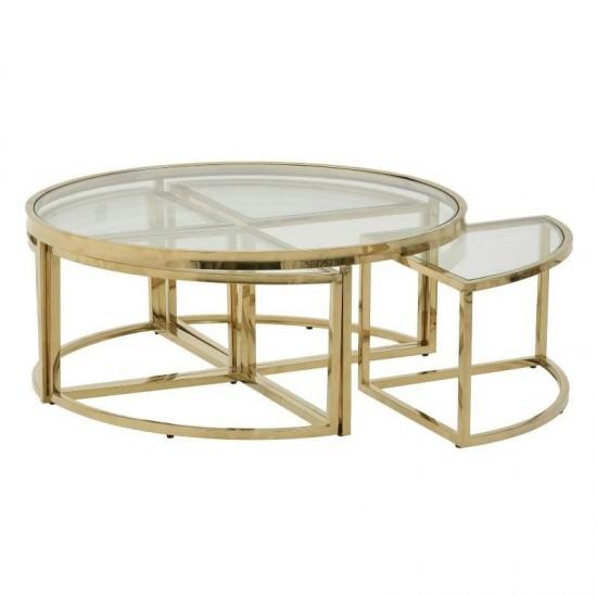 Inart Τραπέζι Σαλονιού 100x100x45cm 3-50-529-0030