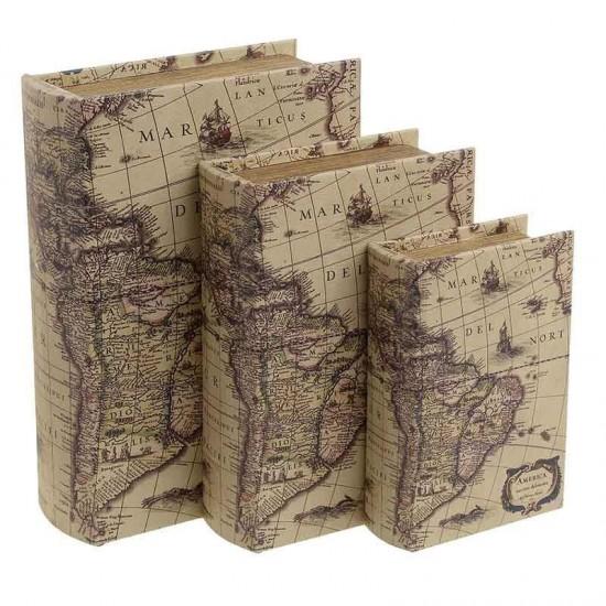 Inart Κουτί/Βιβλίο Σετ Των 3 21x8x29cm 3-70-106-0012