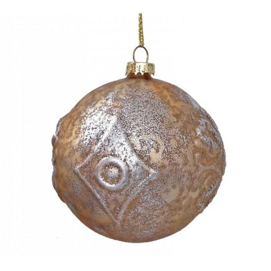 Γυάλινη μπάλλα μελανζέ χρυσό/ασημι 9cm