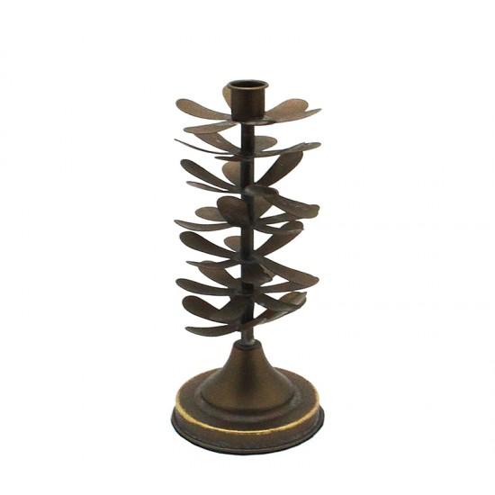 """Μεταλλικό κηροπήγιο """"Pine"""", καφέ, 25.5cm"""